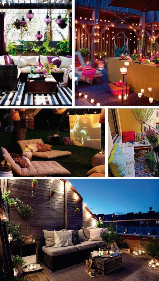 Ideas for night-time terraces